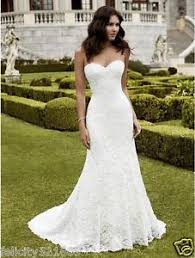 new mermaid sweetheart white ivory lace wedding dress bridal gown
