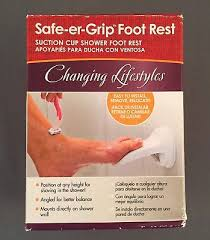 safe er grip shower foot rest wall mount leg up step suction cup bathroom white