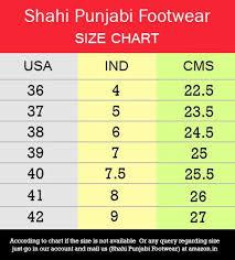 Mojari Size Chart Shahi Punjabi Footwear Womens Traditional Ethnic Brown Leather Jutti Mojari By Spf 1113