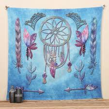 Dream Catcher Blankets Cilected Blue Mandala Tapestry Dream Catcher Printed Bohemian 18