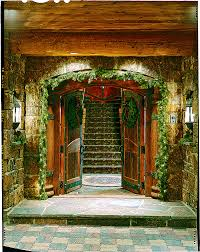log home christmas decorations exterior entryway front doors