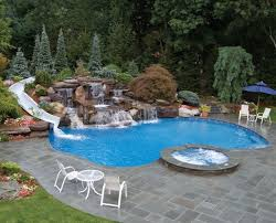 Exellent Pool Designs With Slides Residential Waterfalls And White Curved Water For Concept Design