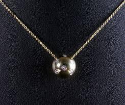 tiffany co etoile 18 ct yellow gold and platinum diamond ball pendant necklace
