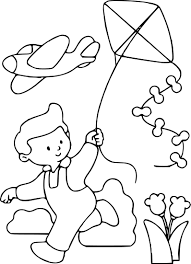Coloriage Enfant Avec Son Cerf Volant Imprimer Dessin De Cerf Volant A Imprimer L