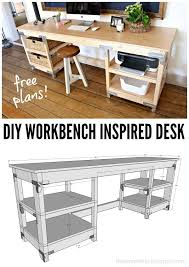 diy home office desk. diy workbench inspired desk built using simpson strong tie connectors free plans included home office