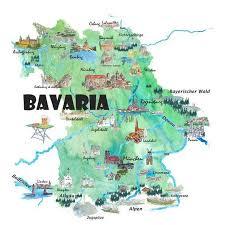 Bavaria Germany Illustrated Travel <b>Poster</b> Map - Fine Art <b>Print Poster</b> ...
