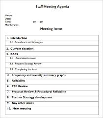 Agenda For Staff Meeting Template Barca Fontanacountryinn Com