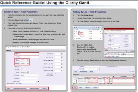 How To Make A Quick Reference Guide Regoxchange Using The Clarity Gantt Quick Reference Guide