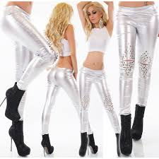 60 leather look pants silver by moda marconi gr