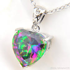 whole hot fashion 925 silver mystic topaz gem charm rainbow love heart cubic zirconia women necklaces pendant with chain gold chain necklace ruby