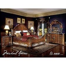Mansion Bedroom Furniture Aico Excelsior King Size Mansion Bed In Fruitwood Finish For