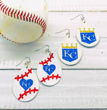 royals leather earrings kc leather earrings teardrop earrings baseball leather earrings genuine leather