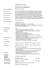 Construction Manager Cv Example Resume Template Building Pdf