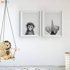 Us 4 38 27 Off Baby Monkey Elephant Prints Black And White Wall Art Large Nursery Poster Canvas Painting For Kids Room Home Decor Framed In Painting