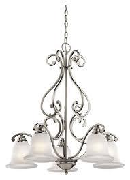kichler 43225ni camerena 2 tier brushed nickel downlight hanging chandelier 5 lamps loading zoom