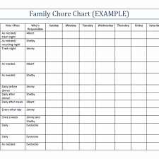 Printable Family Chore Chart Template Printable Family Chore Chart Template