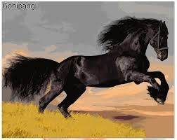 hot ing horse printed oil hand painting high quality living room wall pictures by