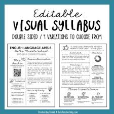 weekly syllabus template editable visual syllabus template for back to school by hello