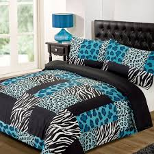 kruger zebra leopard black white animal print duvet quilt cover bedding set double teal