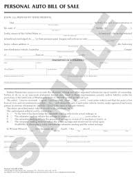 Personal Bill Of Sale For Car Personal Auto Bill Of Sale Fill Online Printable