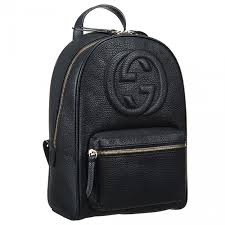 gucci soho chain strap black leather backpack double g logo two zipper closure leisure america