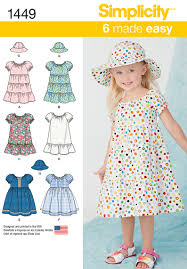 Dress Patterns For Toddlers Amazing 48 Simplicity Pattern Toddlers Dress And Hat In Three Sizes