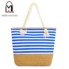 summer beach bags. Perfect Bags 2017 Newest Summer Beach Bag Canvas Tote Straw Rope Handle Strap  Shoulder Stripe Throughout Bags