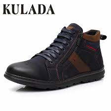 <b>KULADA 2019 Men's</b> Ankle <b>Boots</b> Leather Comfortable ...