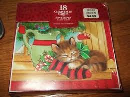 new in box USA paper magic group christmas cards kitten stocking ...