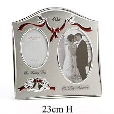 wedding bells silver plated photo frame 40th ruby wedding anniversary gift