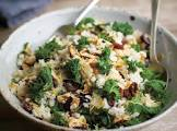 baked barley almond pilaf with kale