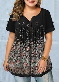 Modlily Size Chart Plus Size Floral Print Roll Tab Sleeve Blouse Modlily Com Usd 29 40