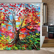 colorful fabric shower curtains. Uphome Colorful Oil Painting Tree Pattern Custom Bathroom Shower Curtain Waterproof Polyester Fabric Ideas (72\ Curtains