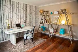 office shag. Ladder Shelves Design Ideas For Room Decorating: Wallpaper In Eclectic Home  Office With Learning Lamp Office Shag