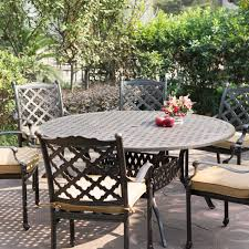 darlee camino real 7 piece cast aluminum patio dining set with round table