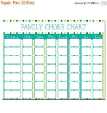Sale Family Chore Chart Instant Download Teal Chore