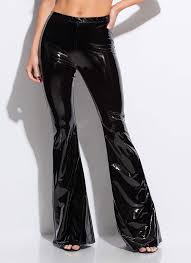 glossy pants faux patent bell bottoms black