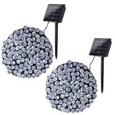 100 White Outdoor Led Solar Fairy Lights Amazon Com Foxsmzz 2 Pack Solar String Lights 40ft 100