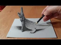 trick art drawing 3d crocodile time lapse you