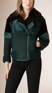 Teal Sueded Shearling Aviator <b>Jacket</b>