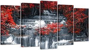 Decorate coffee and side tables with foliage and flowers of houseplants that add natural living beauty and complement your wall art. Amazon Com Visual Art Decor 5 Pieces Canvas Wall Art Red Trees Forest Black And White Waterfall Landscape Picture Prints Modern Home Office Wall Decoration Ready To Hang 01 5 Pieces Posters Prints