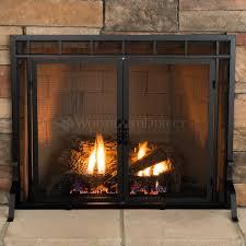 Pleasant Hearth Midnight Black Medium CabinetStyle Fireplace Black Fireplace Doors