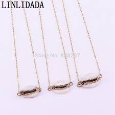 senarai harga 8pcs fashion beautiful gold eletroplated natural cowrie shell pendant with gold chain necklace for women terkini di malaysia