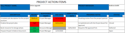 Project Excel Template Project Actions Template Excel Template Free Download