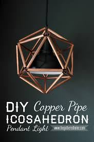 diy copper pipe icosahedron pendant light the gathered home