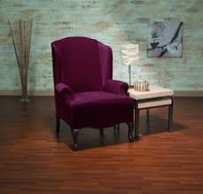 eastwood wine wing chair slipcover plush velvety surface form fit slip cover design