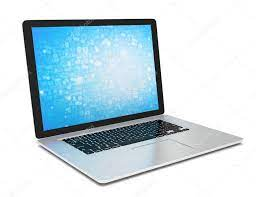Laptop with blue wallpaper Stock Photo ...