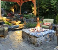patio designs with fire pit. Concrete Outdoor Patio Ideas With Stone Fire Pit And Wicker Chairs Using  Cushion Patio Designs With Fire Pit