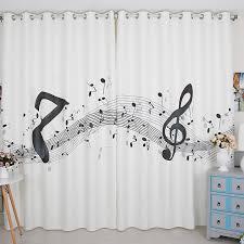 Opulent Design Ideas Music Note Curtains 1Pcs White Planet Notes Kids  Blackout For Children