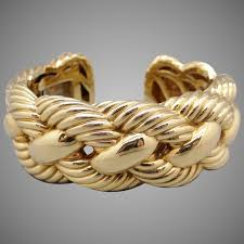Statement Massive David Yurman 18k Yellow Gold 27mm Wide Woven Cable Bangle Cuff Bracelet 100gr Size Medium